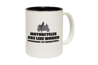 123T Funny Mugs - Motorcycles Are Like Women - Black Coffee Cup