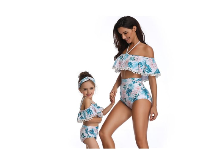 Floral Print High Waisted Bathing Suit Mommy And Daughter Swimwear Bikini Sets 140