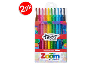 2x 10pc Texta The Original Jmbo Zoom Kids Non Toxic Twist Colour Crayons Wallet