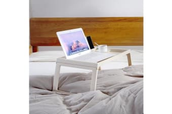 Foldable Breakfast Food Serving Serve Bed Tray Table with iPad iPhone Holder Beige