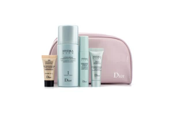 Christian Dior Hydra Life Set: Hydrating Lotion + Essence + Moisturizer + Forever Compact #020 + Bag (4pcs+1bag)