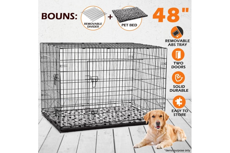 """48"""" XL Dog Crate Cage - Black"""