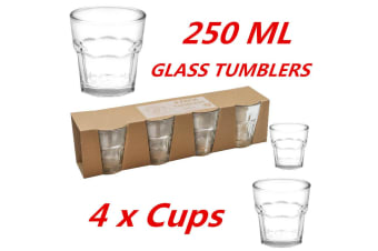 4 x 250ml Clear Bulk Glass Tumblers Drinking Cup Scotch Whisky Glasses Party Event