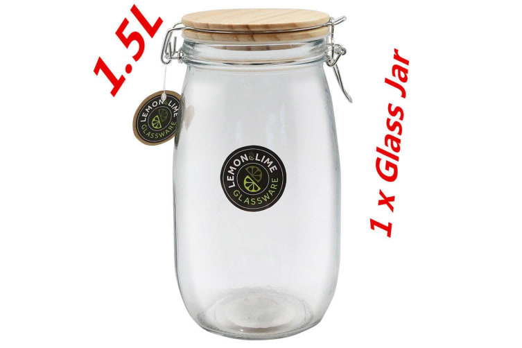 1 x 1500ml Round Food Storage Jar 1.5L Glass Jars Canister Container Wooden Lid