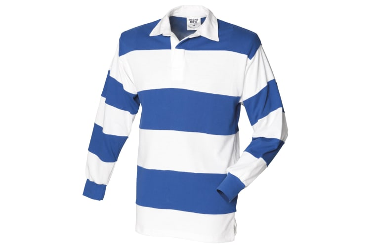Front Row Sewn Stripe Long Sleeve Sports Rugby Polo Shirt (White & Royal (White collar)) (S)