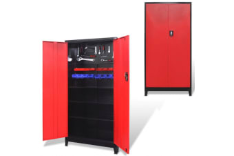 vidaXL Tool Cabinet with 2 Doors Steel 90x40x180 cm Black and Red