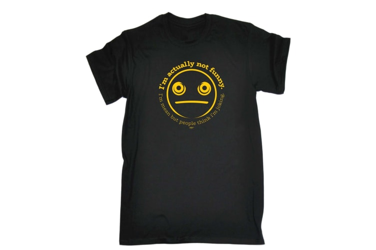 123T Funny Tee - Im Actually Not Mean - (XX-Large Black Mens T Shirt)