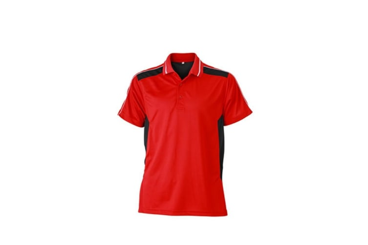 James and Nicholson Unisex Craftsmen Polo Shirt (Red/Black) (3XL)