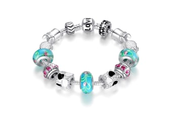Pandora Inspired Full Set Beaded Charm Bracelet-Turquoise
