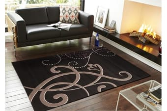 Art Deco Rug Black Grey Cream Purple 320x240cm