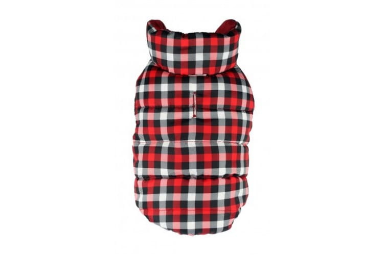 Hip Doggie Gingham Reversible Touch Fastening Puffer Dog Jacket (Red/Black) (XS)