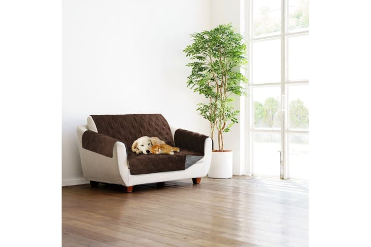 Sprint Industries Reversible Slipover Pet Couch Sofa Cover Protector Armchair - Love Seat - Chocolate, Charcoal