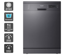 Kogan Series 9 Freestanding Dishwasher (Black Stainless Steel) with Top Cutlery Tray