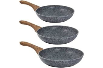 Steinfurt Stone Coated Nonstick aluminium Cookware Set Frying Pan Frypan Grey