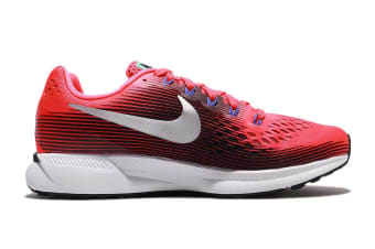 Nike Women's Air Zoom Pegasus 34 Running Shoe (Solar Red/Metallic Silver/Black, Size 8)