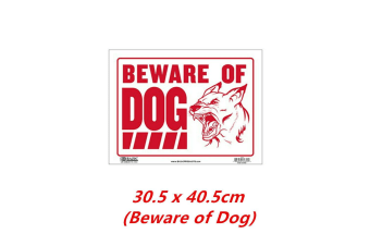 Beware of Dog Sign Plastic Large Red White Durable Weatherproof Bright Warning