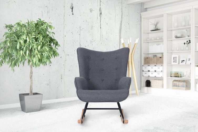 Shangri-La Milla Rocking Armchair (Charcoal Grey)