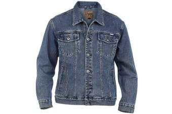 Duke Mens Kingsize Western Trucker Style Denim Jacket (Stonewash)