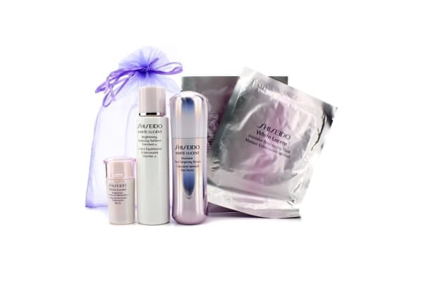 Shiseido White Lucent Set: Brightening Balancing Softener Enriched W 75ml + Intensive Spot Targeting Serum 30ml + Brightening Protective Moisturizer N SPF16 15ml + Intensive Brightening Mask x 2 (5pcs)