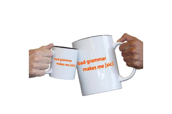 123T Novelty Funny Giant 2 Litre Mugs - Bad Grammar Makes Me Sic