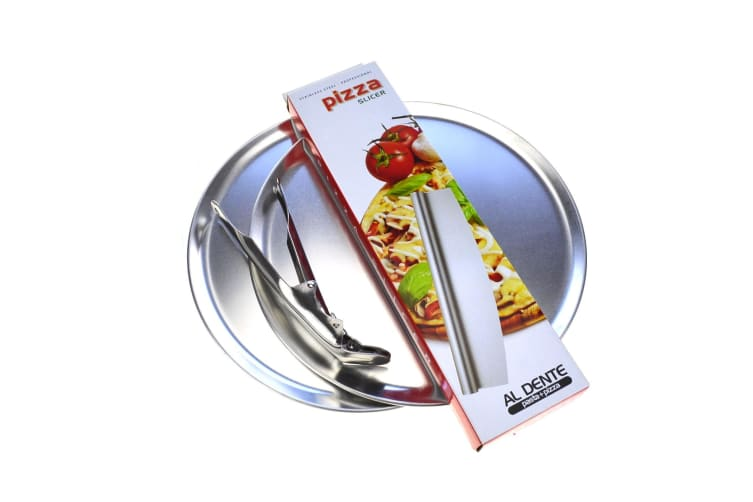 Pizza Flat Pack - 2 X 300mm Pizza Plates And Rocking Pizza Cutter + Pizza Gripper