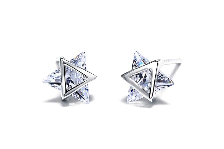 .925 Cosmic Stud Earrings-Silver/Clear
