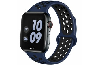 For Apple Watch Band Series 5 4 3 2 Sport Silicone iWatch Strap Band Wristband 42mm/44mm-Blue Black