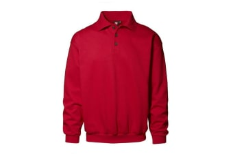 ID Mens Classic Loose Fitting Polo Neck Sweatshirt/Jumper (Red)