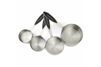 4pc Westinghouse Measuring Cups Stainless Steel Silicone Handles Utensils Set SL