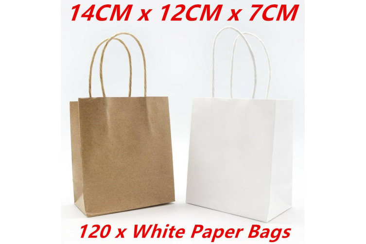 120 x Small Kraft Craft White Paper Party Carry Bags Handle Gift Bags 14CM