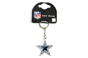 Dallas Cowboys Official Metal NFL Football Crest Keyring (Silver/Black/White)