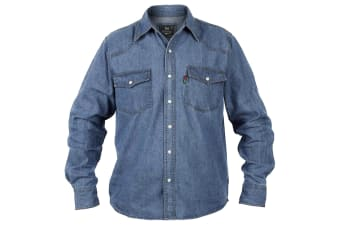 Duke Mens Western Denim Button Down Shirt (Stonewash)