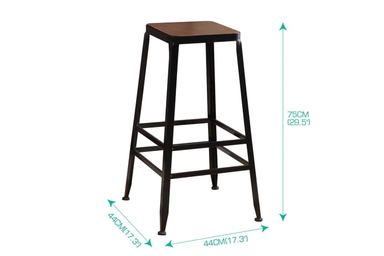 Industrial 3/5pc Pub Table Bar Stools Chair Set Furniture Coffee Kitchen Wood  -  B
