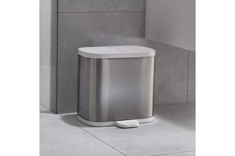 Split 6 Litre Steel Recycler Bathroom Recycling Bin | Joseph Joseph
