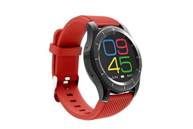 Bluetooth V4.0 Smart Watch Touch Lcd Rechargeable Heart Rate Monitor Red