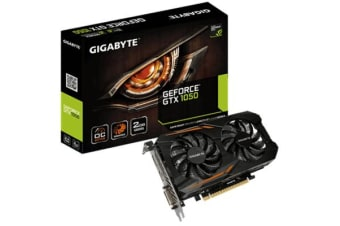 Gigabyte nVidia GeForce GTX 1050 OC 2GB PCIe Video Card 8K @ 60Hz DP HDMI DVI 3x Displays Windforce 2X OC 1518/1493 MHz ~GV-N1050OC-2GL