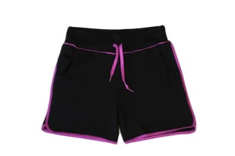 Women Ladies Casual Gym Sports Training Jogging Running Shorts w Drawstring - Black with Purple stripes