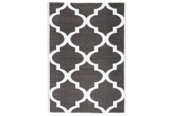 Coastal Indoor Out door Rug Trellis Black White 220x150cm