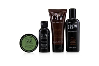 American Crew Travel Grooming Kit: 3-in-1 Shampoo, Conditioner & Shower Gel 100ml+Shave Cream 50ml+Styling Gel 100ml+Foaming Cream50g 4pcs+1bag
