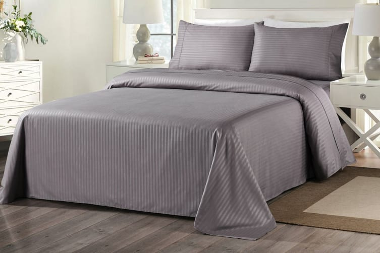 Royal Comfort 1000TC Blended Bamboo Bed Sheet Set with Stripes (Double, Charcoal)
