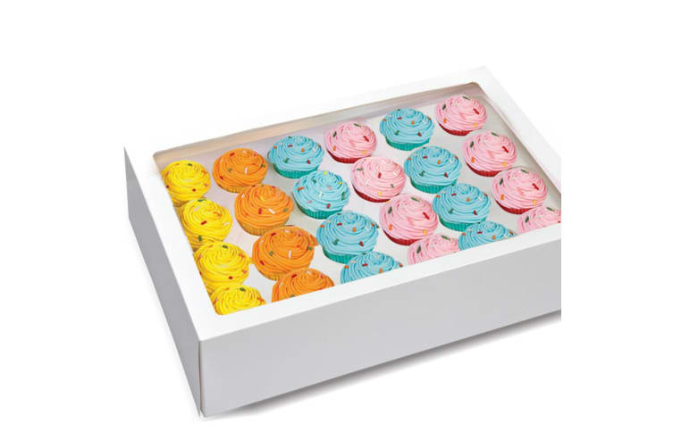 24 Holes Cupcake Boxes 5/20 Pk Window Face With Inserts Cake Boxes Board  -  20 Pcs