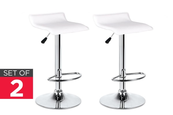 Ovela Set of 2 Flat Top Bar Stools (White)