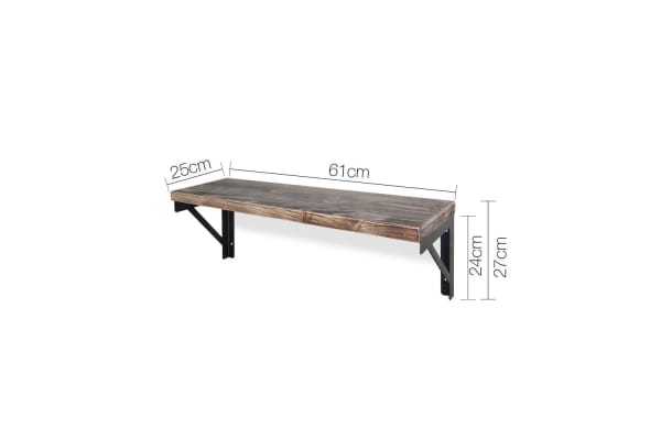 61CM Rustic Industrial DIY Floating Pipe Wall Shelf