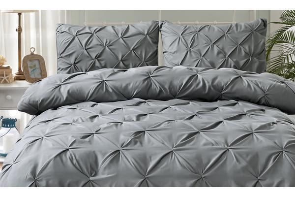 Diamond Pintuck Bed Duvet/Doo/Quilt Cover Charcoal Super King