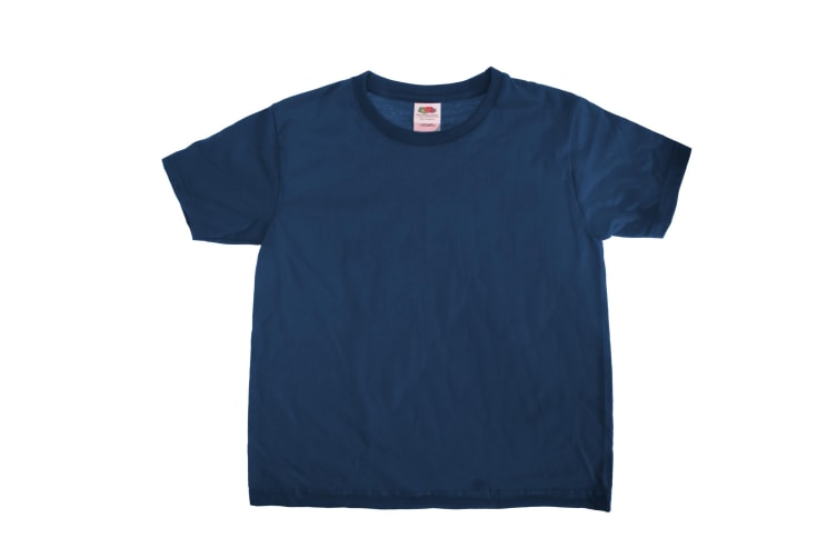 Fruit Of The Loom Kids Sofspun Short Sleeve T-Shirt (Pack of 2) (Deep Navy) (3-4)