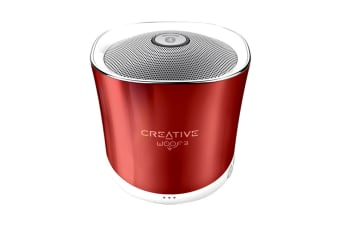 Creative Woof 3 Palm Sized Wireless Bluetooth Speaker with MP3 Player (Ruby)