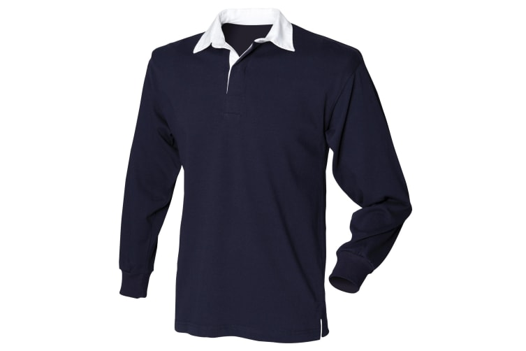 Front Row Mens Long Sleeve Sports Rugby Shirt (Navy) (XL)