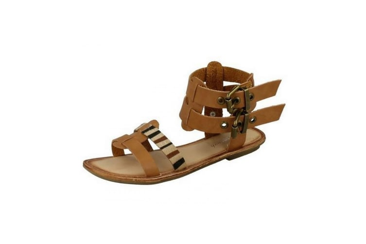 Savannah Womens/Ladies Low Gladiator Sandals With Double Buckle Ankle Strap (Tan) (6 UK)