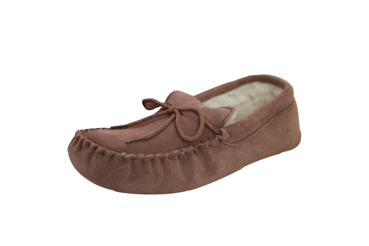 Eastern Counties Leather Unisex Wool-blend Soft Sole Moccasins (Camel) (5 UK)