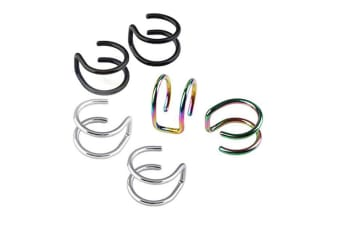 3pairs Surgical Steel Non- Pierced Clip On Earrings Fake Cartilage Cuff Ear Ring 3